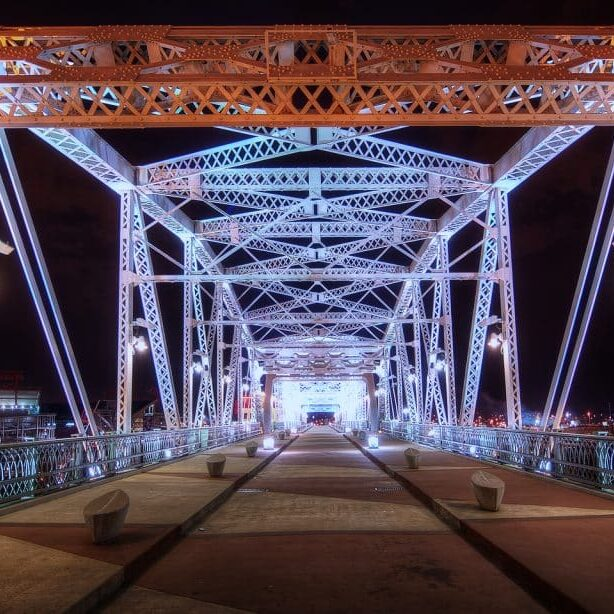 The Pedestrian Bridge seen at Nashville Downtown